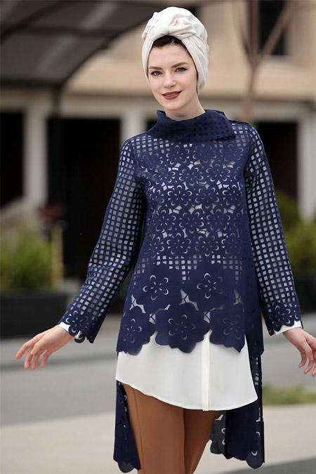 Selma Sarı Design Ekru Lacivert Favori İkili Tunik Takım