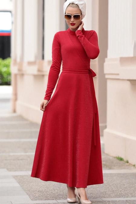 Selma Sarı Design Kırmızı Mery Elbise