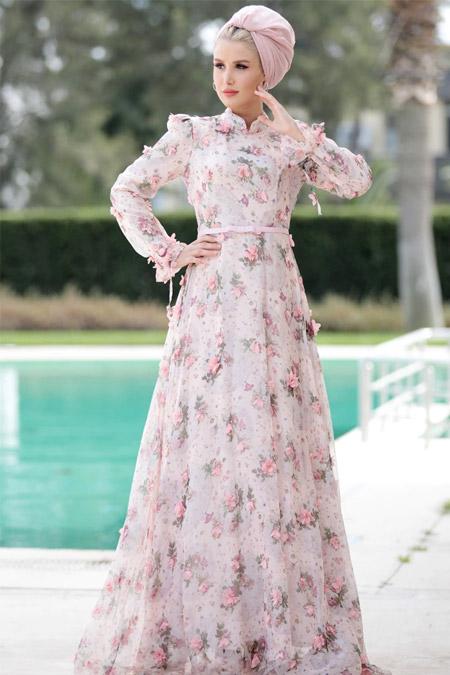Selma Sarı Design Pudra Çiçek Desenli Abiye Elbise