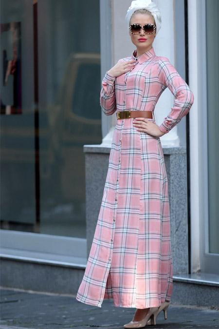 Selma Sarı Design Pudra Kemerli Ekose Elbise