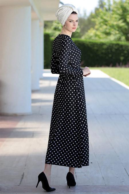 Selma Sarı Design Siyah Ekru Lale Elbise
