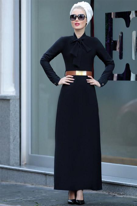 Selma Sarı Design Siyah Fiyonklu Prenses Elbise