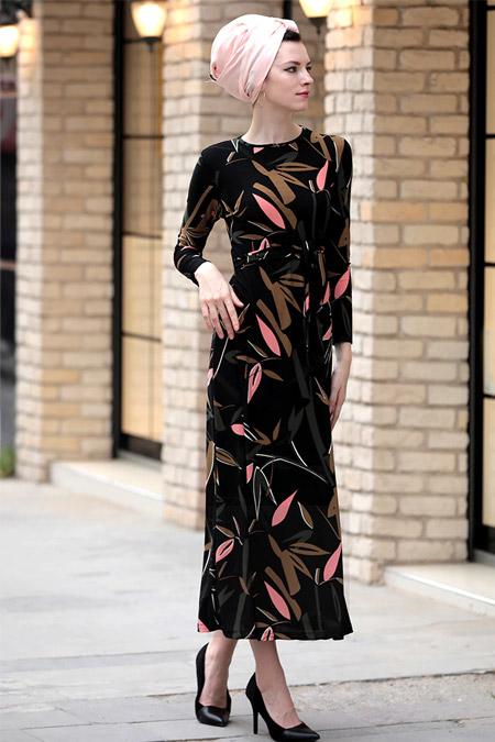 Selma Sarı Design Siyah Haki Lale Elbise