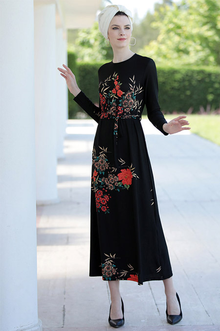 Selma Sarı Design Siyah Kiremit Lale Elbise