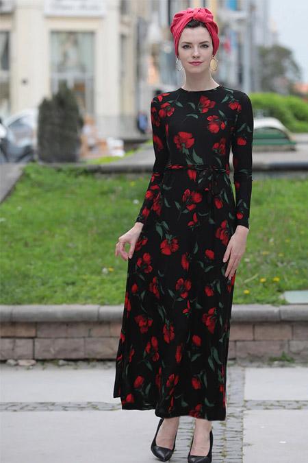 Selma Sarı Design Siyah Kırmızı Lale Elbise