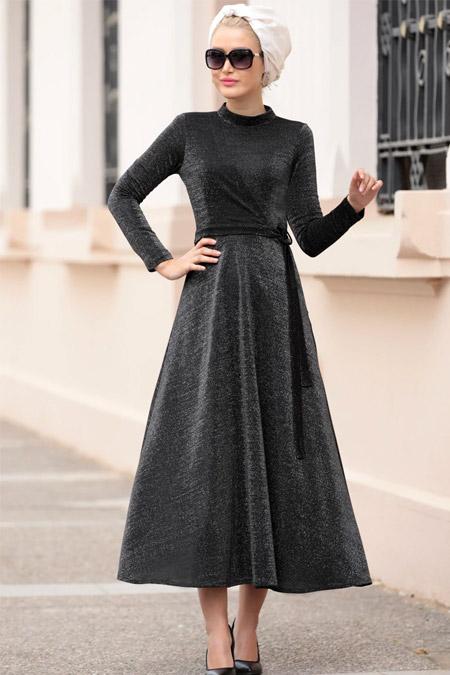 Selma Sarı Design Siyah Mery Elbise