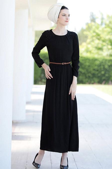 Selma Sarı Design Siyah Önü İncili Elbise