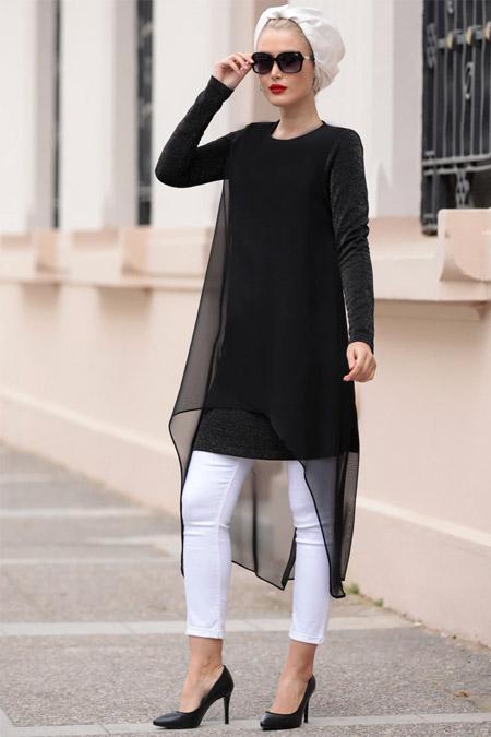 Selma Sarı Design Siyah Simli Ebrar Tunik