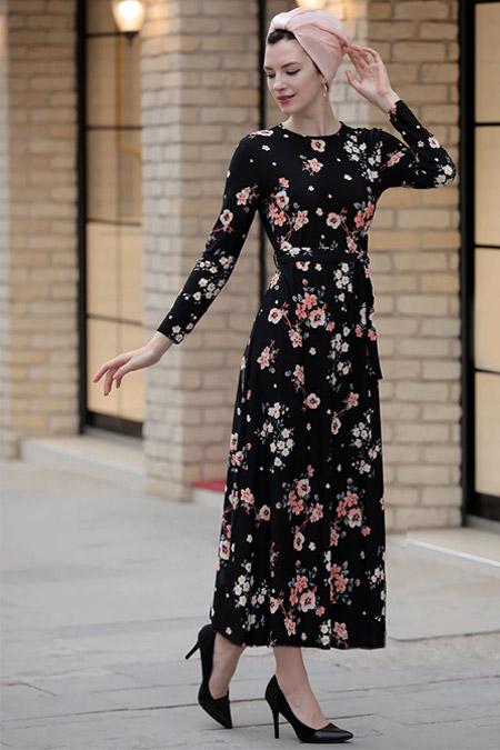 Selma Sarı Design Siyah Somon Lale Elbise