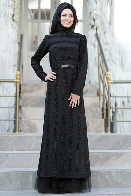 Sema Şimşek Siyah Gülfem Abiye Elbise