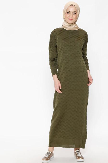 Zentoni Haki Triko Elbise