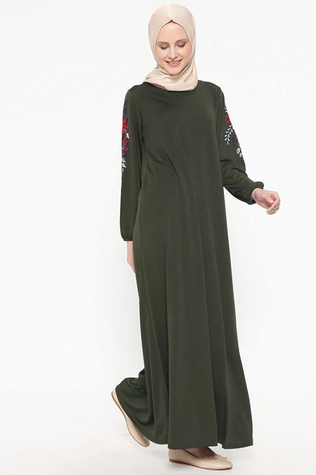 İLMEK TRİKO Haki Kolları Nakışlı Elbise