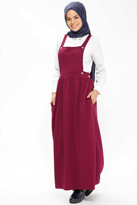 İLMEK TRİKO Mor Salopet Elbise