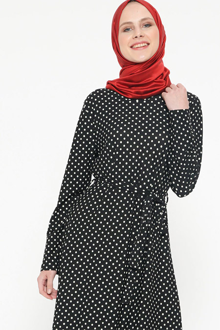 İLMEK TRİKO Siyah Puantiyeli Elbise