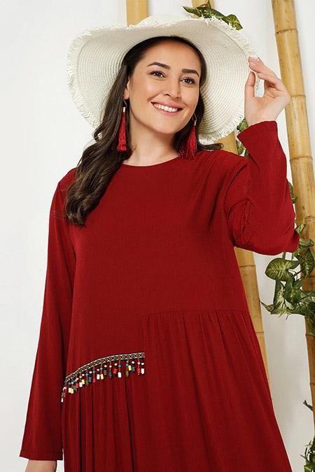 Alia Bordo Etnik Detaylı Elbise