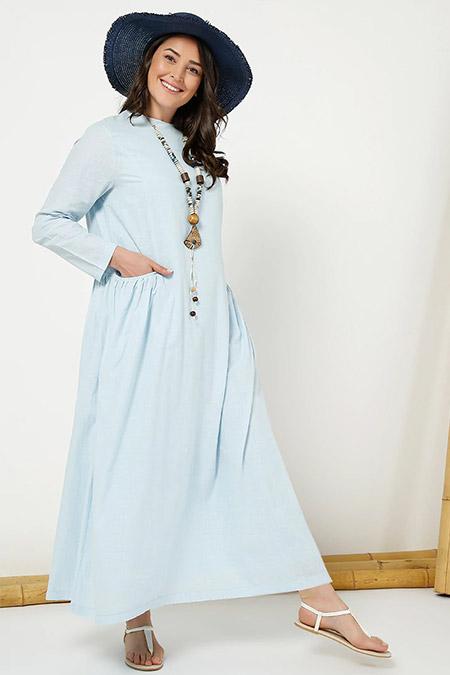 Alia Buz Mavisi Cep Detaylı Keten Elbise