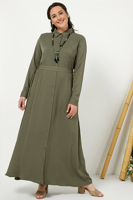 Alia Haki Doğal Kumaşlı Boydan Düğmeli Elbise