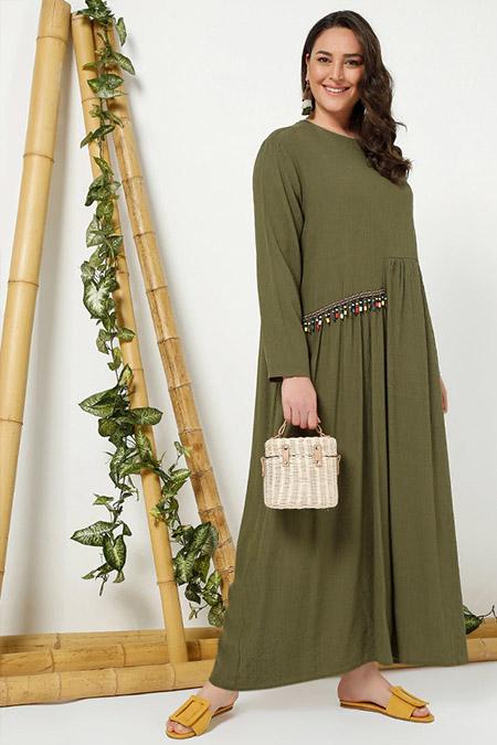 Alia Haki Etnik Detaylı Elbise