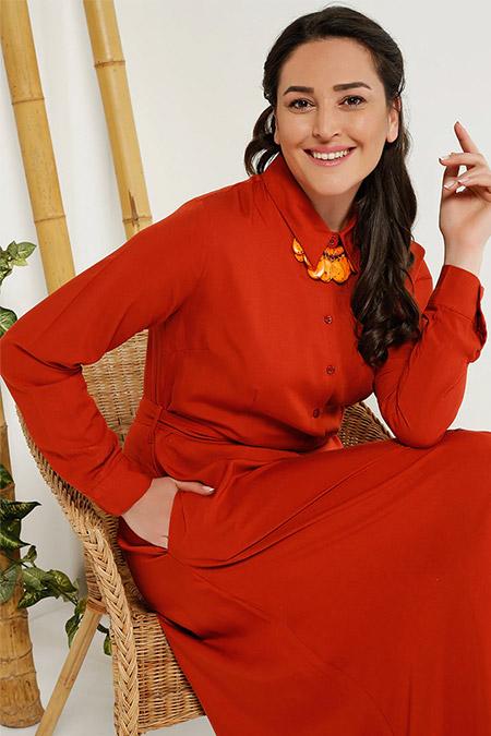 Alia Kiremit Doğal Kumaşlı Boydan Düğmeli Elbise