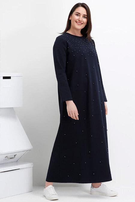 Alia Lacivert İncili Elbise