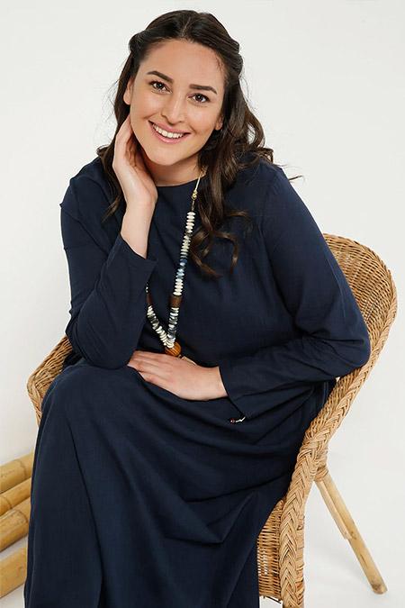 Alia Lacivert Cep Detaylı Keten Elbise
