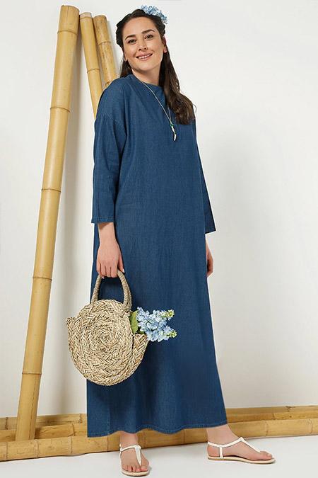 Alia Lacivert Doğal Kumaşlı Kot Elbise