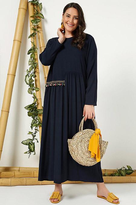 Alia Lacivert Etnik Detaylı Elbise
