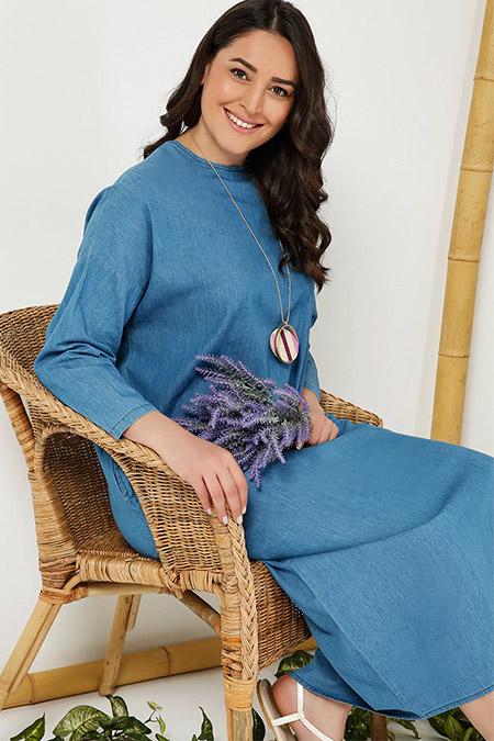 Alia Mavi Doğal Kumaşlı Kot Elbise