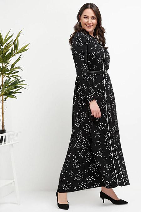 Alia Siyah Doğal Kumaşlı Düğmeli Elbise