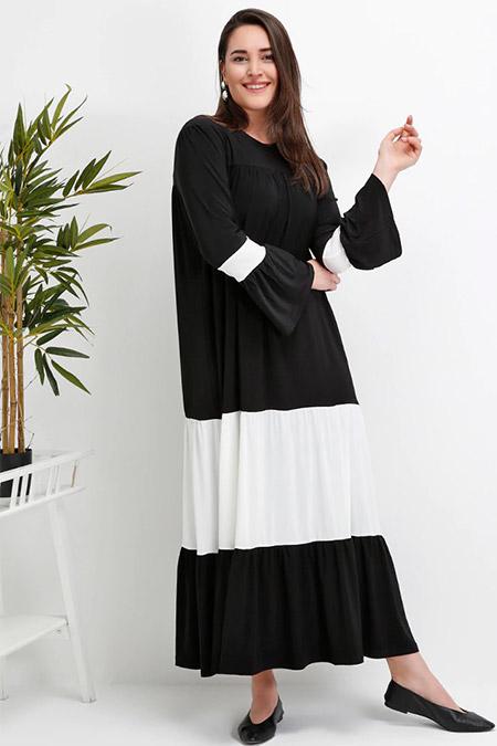 Alia Siyah Ekru Garnili Elbise