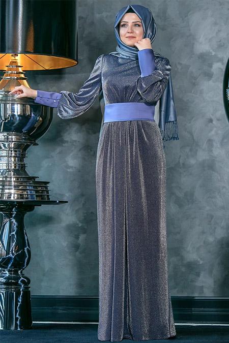 An-Nahar Lacivert Sedef Abiye Elbise