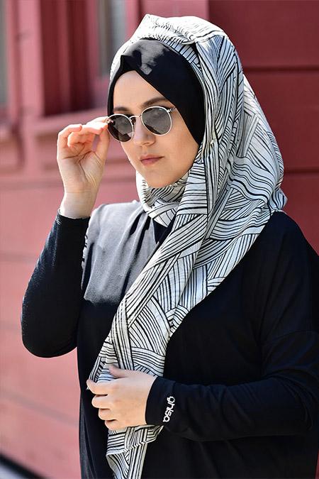 Argite Eşarp Siyah Beyaz Bantlı Geometri Şal