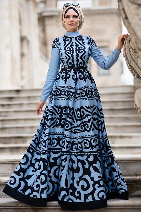 Muslima Wear Mavi Aynoor Abiye Elbise