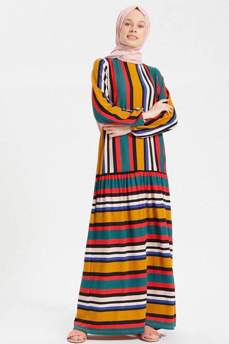 Benin Camel Çizgili Elbise
