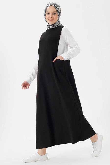 Benin Siyah Ekru Gömlekli Jile Elbise