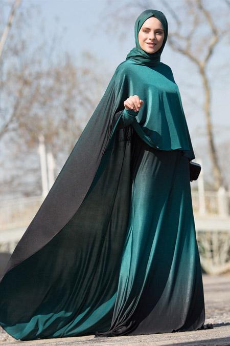 Benin Koyu Yeşil Pelerin Detaylı Degradeli Abiye Elbise