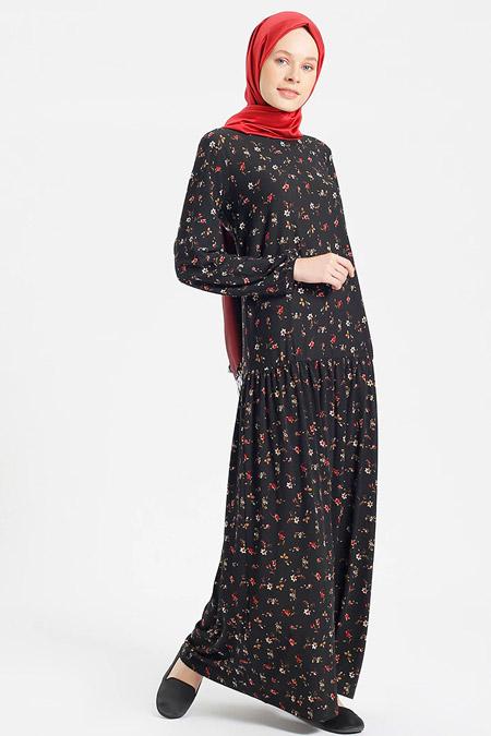 Benin Siyah Çiçekli Elbise