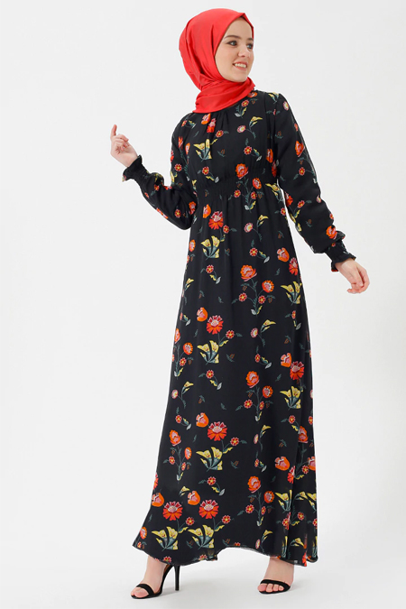 Benin Siyah Çiçekli Şifon Elbise