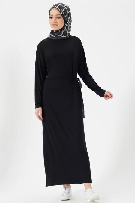 Benin Siyah Doğal Kumaşlı Beli Bağcıklı Elbise