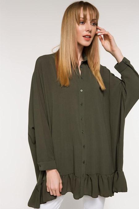 DeFacto Haki Etek Ucu Fırfır Detaylı Gömlek Tunik