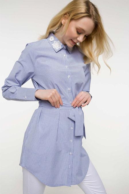 DeFacto Mavi Yaka Detaylı Gömlek Tunik