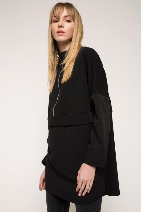 DeFacto Siyah Uzun Kollu Fermuar Detaylı Tunik