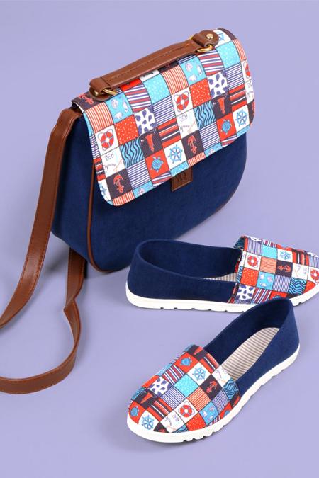 Denizci Kare Desenli Lacivert Çapraz Çanta ve Ayakkabı Set