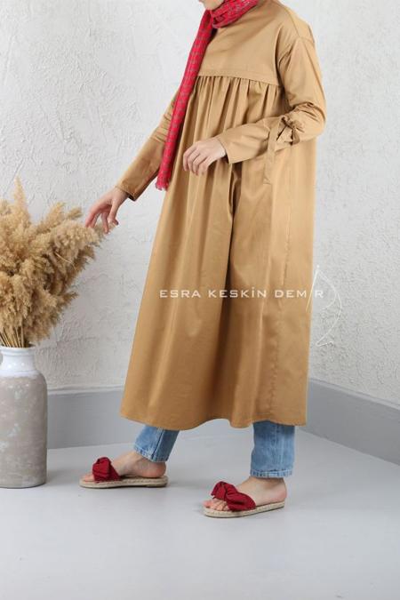 Esra Keskin Demir Camel Büzgülü Tunik