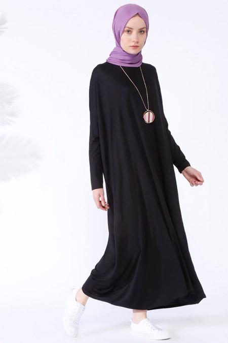 Everyday Basic Siyah Doğal Kumaştan Salaş Elbise
