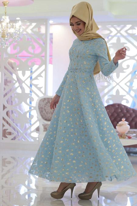 Gamze Özkul Mavi Lara Abiye Elbise