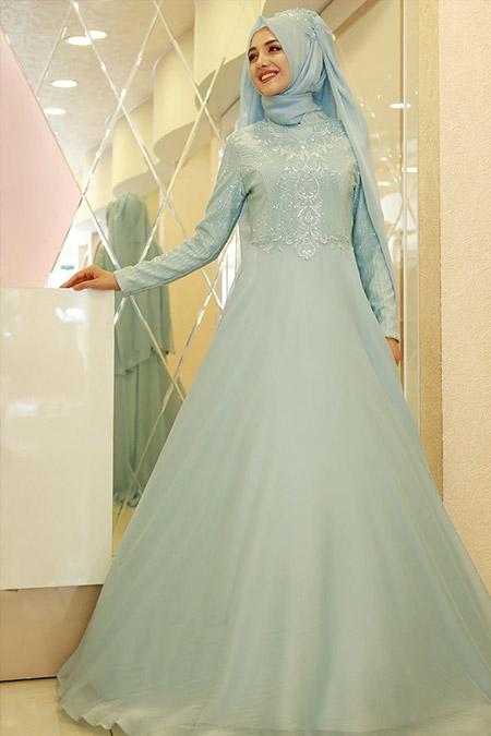 Gamze Özkul Mint Yeşili Mihrimah Abiye Elbise