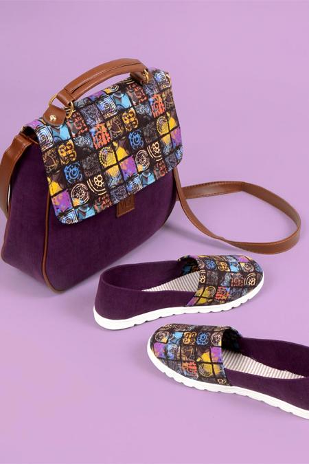Geometrik Kare Desenli Koyu Mor Çapraz Çanta ve Ayakkabı Set