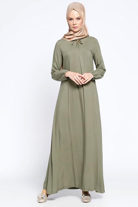 Ginezza Açık Haki Pile Detaylı Elbise