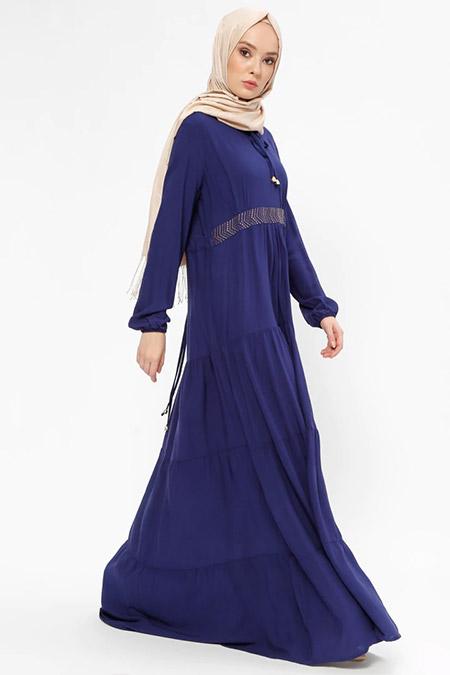 Ginezza Açık Lacivert Drop Baskılı Elbise